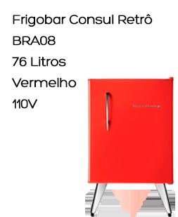 Frigobar Consul Retrô BRA08, 76 Litros, Vermelho, 110V