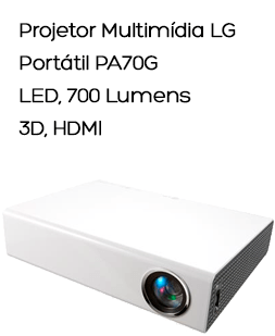 Projetor Multimídia LG Portátil PA70G, LED, 700 Lumens, 3D, HDMI, Resolução WXGA 1280 x 800