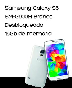 """Samsung Galaxy S5 SM-G900M Branco, SMARTPHONE DESBLOQUEADO, 4G, Tela 5.1"""", Android 4.4, Quad Core 2.5 Ghz, Câmera 16MP, Memória Interna 16GB"""