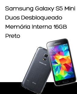 Smartphone Dual Chip Samsung Galaxy S5 Mini Duos Desbloqueado Preto