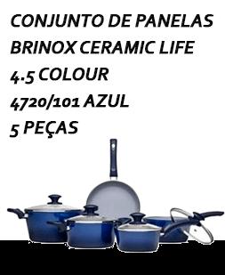 Conjunto de Panelas Brinox Ceramic Life 4.5 Colour 4720/101 Azul - 5 peças