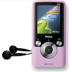 Mania Virtual MP4 PH308 4GB, Gravador de M�sicas de R�dio, Entrada USB 1.1 / 2.0, Rosa - PHILCO