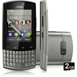 Mania Virtual Nokia Asha 303 Prata com Qwerty, CELULAR DESBLOQUEADO, C�mera 3.2MP, Wi-Fi, 3G,Touch Screen, R�dio FM, MP3, Bluetooth, Fone de Ouvido e Cart�o 2GB